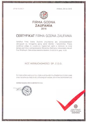 NCC Firma godna zaufania certyfikat